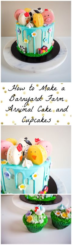 How to make a Barnyard Farm Animal Cake and Cupcakes