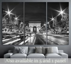 Black and White Paris Evening traffic on Champs-Elysees in front of Arc de Triomphe №2650 Framed Canvas Print