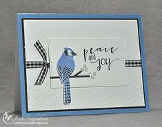 Peace & Joy for Merry Monday's Blue, White and Texture challenge using stamps from Papertrey Ink.