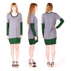 Smafolk grey and green extra fine knit womens viscose dress