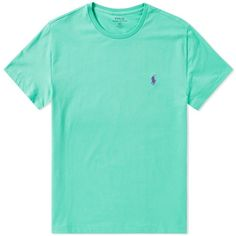 Polo Ralph Lauren Custom Fit Crew Tee (736.175 IDR) ❤ liked on Polyvore featuring tops, t-shirts, green t shirt, crewneck t shirt, crew top, crew-neck tops and crew neck top