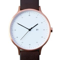 Instrmnt 01-B (rose gold/brown) watch by Instrmnt. Available at Dezeen Watch Store: www.dezeenwatchstore.com
