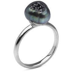 Tahitian Pearl and Black Diamond Ring ($1,650) ❤ liked on Polyvore featuring jewelry, rings, 14 karat gold jewelry, 14k jewelry, black diamond jewelry, tahitian pearl jewelry and 14k black diamond ring
