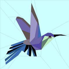 Little Hummingbird paper-pieced / foundation-pieced free quilt block pattern Bird