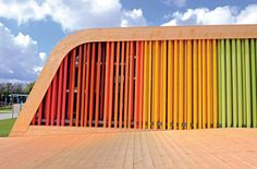 Exterior view of the Spanish Pavilion at Floriade 2012 in Venlo, The Netherlands by Pulgon Diseño. Colour Architecture, Architecture Details, Landscape Architecture, School Architecture, Pavilion Design, Wood Facade, Unusual Buildings, Clinic Design, Parametric Design