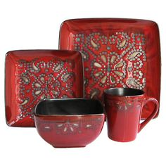 Earthenware dinnerware set with a Moroccan-inspired motif.