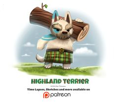 Day 1395. Highland Terrier by Cryptid-Creations.deviantart.com on @DeviantArt