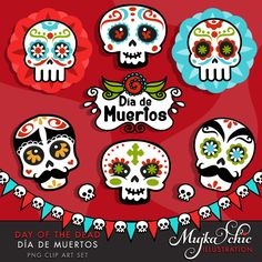 Day of the Dead Clipart. Sugar skulls clipart, Día de Muertos, Mexican holiday graphics, skull banner, day of the dead frame. by MUJKA on Etsy