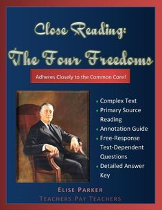 Common Core Compliant English and History activity -- a close reading of FDR's Four Freedoms speech. Text-dependent questions require students to dive deep into the text while a detailed answer key provides teachers with all the support they need to imple History Class, Us History, American History, History Channel, Four Freedoms, Text Dependent Questions, Teaching Plan, Teaching Ideas, History Activities