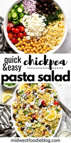 This vegetarian Chickpea Pasta Salad is loaded with a mixture of canned and fresh vegetables tossed in a simple oil and vinegar dressing. Then it's drizzled with a creamy yogurt sauce and garnished with fresh chopped dill for a summer side dish (or main dish) unlike any you've had before! This pasta salad is quick, easy, and oh so satisfying! Vegetarian Pasta Salad, Best Pasta Salad, Pasta Salad Recipes, Healthy Salad Recipes, Lunch Recipes, Vegetarian Recipes, Healthy Food, Fresh Vegetable Salad Recipes, Vegetable Pasta