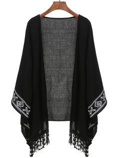 kimono imprimé -Noir -French SheIn(Sheinside)