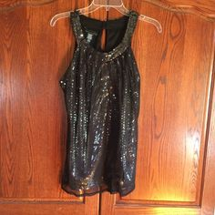 LIKE NEW Sparkly Sleeveless Blouse  Sparky Sleeveless Blouse worn once for an hour from a smoke free home. Excellent condition.  ‼️ PRICE IS FIRM ‼️ Perfect for a night out. 100% Polyester. A black sheer net covers the silver sequined tank (Pic#2). Tank is fully lined (Pic #4). ❎ LOWBALL OFFERS ACCEPTED! ❎ TRADES. ✅ Bundle discounts available! Apostrophe Tops Blouses