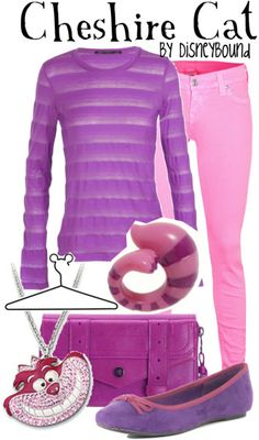 """Outfit based on the Cheshire Cat from """"Alice In Wonderland."""" Lots of purple!!! <3"""