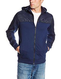 Calvin Klein Sportswear Men's Mixed Media Sporty Terry Hoodie Sweatshirt