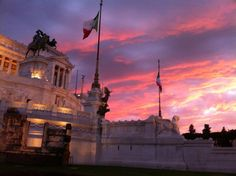 The Piazza Venezia in Rome at sunset