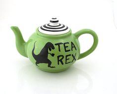 Tea Rex Teapot t-rex dinosaur large tea pot ceramic by LennyMud
