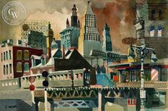 Chatham Street Station, New York, c. 1950, a California watercolor by Dong Kingman