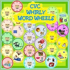 These are 13 fun CVC Whirly Word Wheels which help students to merge the beginning consonant sound to the VC ending in these one-syllable words for beginners who can identify letter sounds but need practice to merge the sounds together to form words. Each word wheel has colorful illustrations of words in the wheel and each wheel uses each of the vowels a,e,i,o and u as the middle sounds. $ Priced item