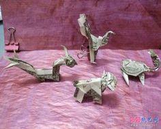 用美元折纸四大神兽的方法教程完成效果图 Dollar Bill Origami, Money Origami, Japan, Japanese