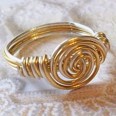 Two-Tone Spiral Wire Wrap Ring