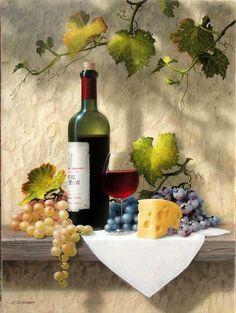 Wine Painting, Fruit Painting, Still Life Photos, Still Life Art, Wine Photography, Still Life Photography, Afrique Art, Wine Art, Fruit Art