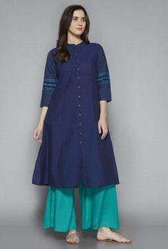 Utsa by Westside Indigo Solid Kurta Salwar Designs, Kurta Designs Women, Blouse Designs, Simple Dresses, Casual Dresses, Chic Outfits, Fashion Outfits, Skirt Fashion, Kurtha Designs