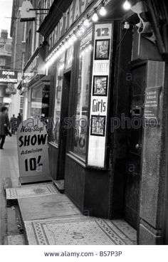 Strip clubs and seedy book shops in Soho, December 1970.