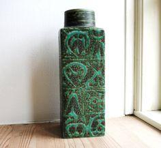Danish Aluminia Green Square Vase by Nils