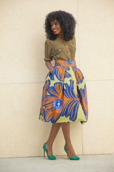 Military Style Shirt x Printed Midi ~African fashion, Ankara, kitenge, African women dresses, African prints, African men's fashion, Nigerian style, Ghanaian fashion ~DKK