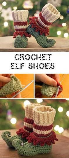 Crochet Christmas Elf Slippers - Design Peak Okay, these are really chic - Diyprojectgardens.club Crochet Christmas Elf Slippers - Design Peak Okay, they are really chic S. Elf Slippers, Crochet Slippers, Crochet Socks Pattern, Crochet Mittens, Felted Slippers, Christmas Elf, Christmas Crafts, Xmas, Christmas Nails