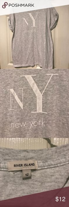 [River Island] New York T-Shirt Heathered Athletic Gray T-Shirt with rolled up short sleeve // Size 12 // River Island // New York White Decal River Island Tops Tees - Short Sleeve