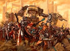 Skitarii Cohort, supported by Titans