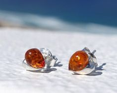 Baltic Amber Earrings, Amber Stud Earrings, Baltic Amber Heart Earrings, Sterling Silver Cognac Amber Earrings, Heart Studs, Amber Heart♥   These cute studs are made of 925 sterling silver ( not silver plated). They are safe for you if you have an allergy , butterfly backing.  Eye catching, cognac amber is used.  Highest point about: 6 mm (0.24) Widest pint: 7 mm (0.27)  Check out on social media to get updates on new products, promotions and giveaways…