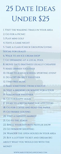 25 Date Ideas Under $25 Date night, cheap, save money, frugal, fun, outside, summer,