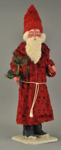"""German Belsnickle candy container, RARE 31 1/2"""" h., rabbit fur beard, red fur robe, holding feather tree sprig with candle holders."""