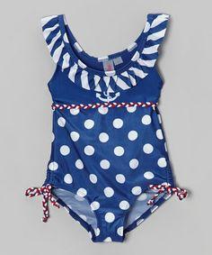 Loving this Royal Polka Dot Anchor One-Piece - Infant & Toddler on #zulily! #zulilyfinds
