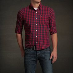 New Abercrombie by Hollister Men Goodnow Mountain Button Plaid Check Shirt Red