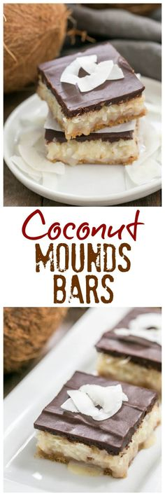 Coconut Mounds Bars | Fabulous coconut bars with a graham cracker crust and ganache topping