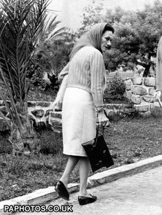 The Duchess of Windsor on her way to the hairdresser in a nearby hotel during the royal couple's holiday in Marbella where they own a villa
