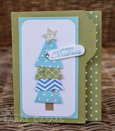 Stampin' Up! .... handmade Christmas card by Di Barnes (colourmehappyDi) ... file folder design ... tree of stacked triangles cut from patterned papers ... like it!
