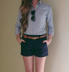 My idea of a perfect casual outfit: button-down chambray and comfortable shorts.