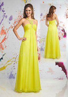 Chiffon A line Halter Empire Floor Length Sleeveless Prom Dress