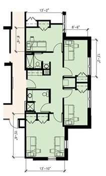 Commons 3 Single Bedrooms and 1 Double Floor Plan