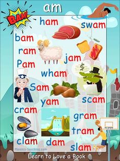 am Word Family - FREE Printable Word Ending Poster - Phonics Practice Phonics Reading, Teaching Phonics, Teaching Reading, Teaching Kids, Kids Learning, English Phonics, English Vocabulary Words, English Teaching Materials, Teaching English
