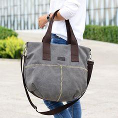 Women Durable Canvas Big Capacity Shoulder Bags Simple Crossbody Bags - US$36.89