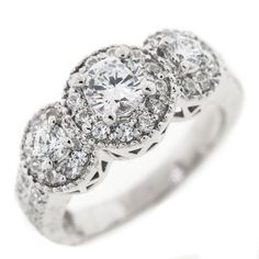 1.50 Cttw Round Diamonds 3 Stone Engagement Ring in 14k White Gold by…