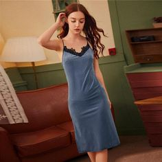 Women's Velvet V-Neck Sleeveless Nightgown With Lace   ZORKET   Material: Polyester, Spandex • Dresses Length: Mid-Calf • Decoration: Lace • Obscene Picture: No • Material: 93%Polyester, 7% Spandex • Type: Solid, Nightgowns