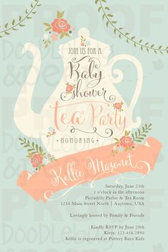 PRINTABLE Tea Party Baby Shower Invitations by doodlebugandpeep any excuse for a tea party!! | Adapt for BBQ instead of tea party? Or name it a tea party and have a BBQ with it?