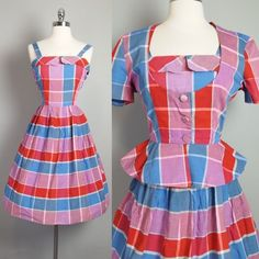 Vtg 50s Madras Plaid Dress Bolero Jacket Peplum