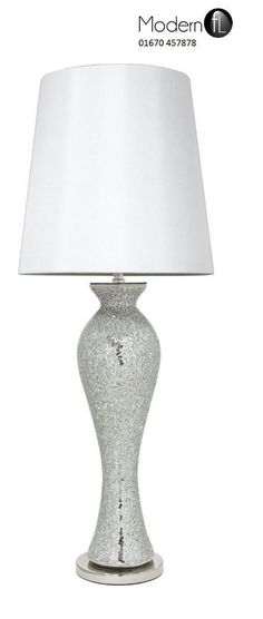Merveilleux New Large Mirrored Silver Table Lamp, Silver Mirror Mosaic V Neck Table Lamp